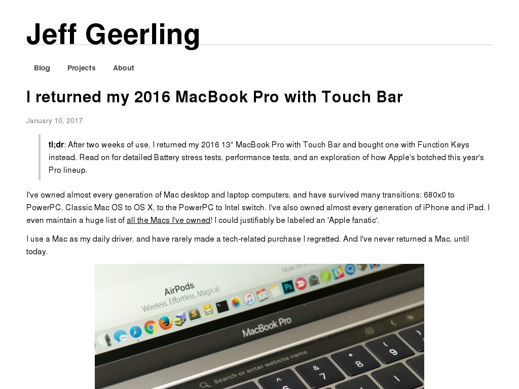 I returned my 2016 MacBook Pro with Touch Bar | Jeff